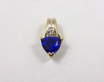 Solid 10K Yellow Gold Lab Sapphire and Diamond Heart Pendant 1.1 grams