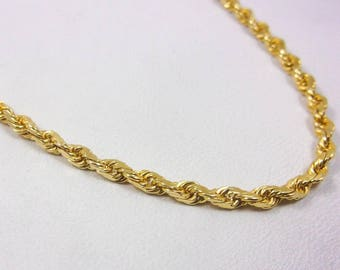 """Solid 14K Yellow Gold 19"""" Rope Chain Necklace 2.5mm, 13.6 grams"""