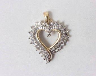 Solid 10K Yellow Gold Diamond Heart Pendant Charm, 3.1 grams