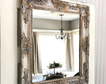 French Country Mirror Distressed White And Gold Shabby Chic Decor