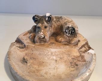 Chalkware ashtray. Terrier dog ashtray. Stamped 3666. Vintage kitsch ashtray