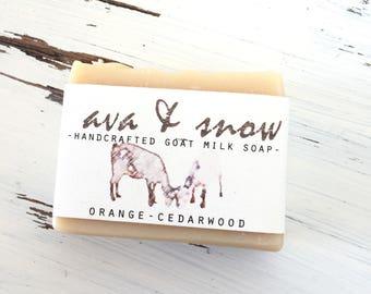 On Sale. Orange Cedarwwod Goat Milk Soap, All Natural Soap, Essential Oil Soap, Goat's Milk Soap