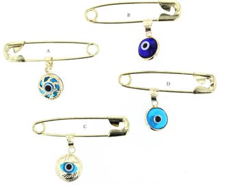 Evil Eye, 14kt Gold Evil Eye Charm with Stainless steel Safety Pin to Hook