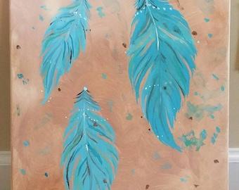 Boho feather painting