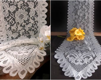 Floral Scalloped edged Lace Runner - Ivory or Gray - 2 Sizes