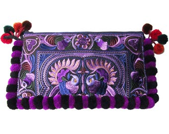 Colorful Boho Regal Purple Floral Embroidery Pom Pom Clutch Bag