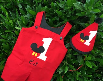 Mickey boy FIRST BIRTHDAY outfit mickey mouse ears jon jon, shortall, romper, jumpsuit