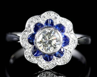 Sapphire and Cluster Ring 18ct White Gold Engagement Ring