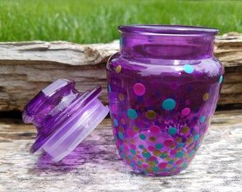 Purple teal gold confetti glass stash jar, purple gold teal polka dot glass stash jar, confetti stash jar, confetti stash jar, herb jar