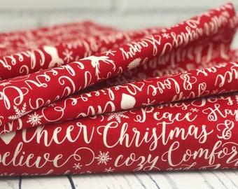 Red Words Quilt Fabric - Comfort & Joy - Riley Blake Designs