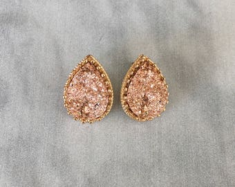 Druzy Stud Earrings, Large Druzy Earrings, Rose Gold Druzy Earrings, Druzy Earrings, Teardrop Druzy Earrings, Bridal Gift Druzy Earrings