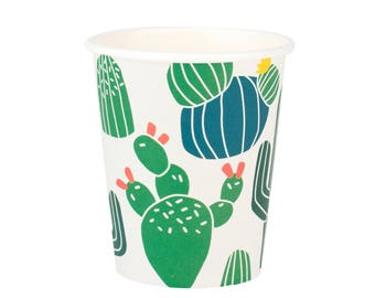 Cups | Cactus Paper Cups | Cactus Party Supplies | Cactus Party Decor | Pack of 8 | Southwest | Fiesta | Paper Cups | The Party Darling