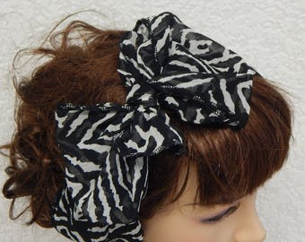 Self tie chiffon head scarf, tie up headband bow, rockabilly summer hair band, hair scarf bow, chiffon bandanna, women's headbands