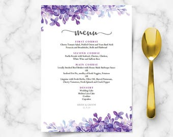 Printable menu cards for weddings, lilac lavender periwinkle wedding reception, buffet, purple theme formal dinner editable template DIGITAL
