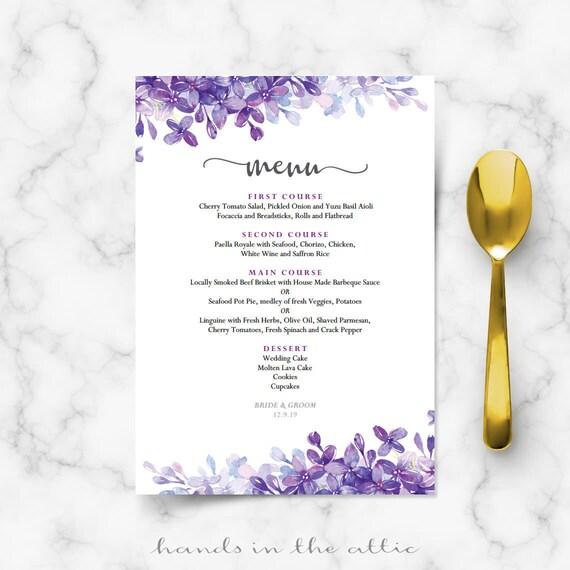 Printable menu cards for weddings, lilac lavender periwinkle wedding ...