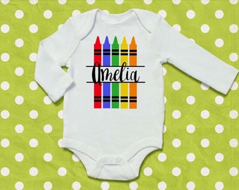Crayon Birthday, Back to School Outfit, Personalized School Shirt, Kindergarten Shirt, Preschool Outfit, Crayon Bodysuit
