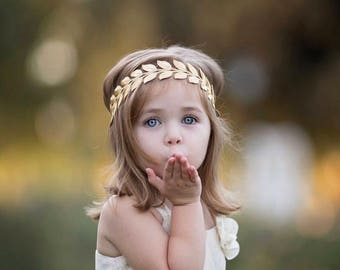 Bohemian headband - gold leaf headband - boho headband - newborn headband - baby girl headband - baby headband - toddler headband