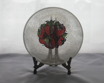 Mid Century Georges Briard Speckled Glass Strawberry Bowl / Georges Briard Strawberry Bowl / Rare Briard Strawberry Bowl