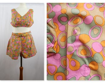 1960's Psychedelic Flower Power 2 piece bathing suit Deadstock New