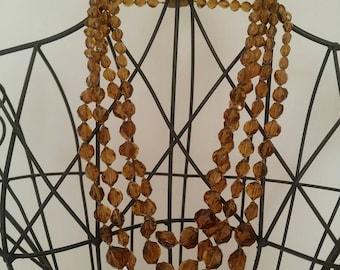 Vintage Amber Glass Multilayered Necklace