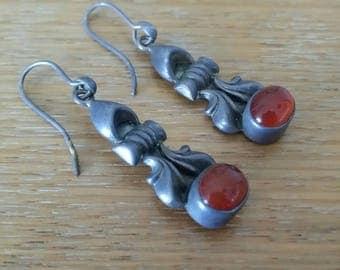 Vintage Silver 925 Plum Coloured Stones Drop Dangle  Earrings