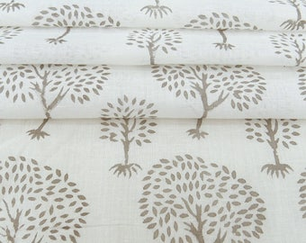 "Tree Hand Block Print, Apparel Fabric, Sewing Decor, White Fabric, Craft Fabric, 48"" Inch Cotton Fabric By The Yard ZBC8577B"