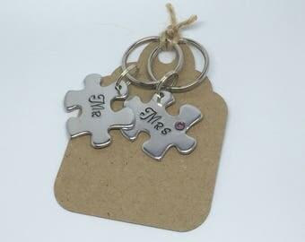 Mr&Mrs Jigsaw keyring