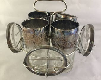 Mid Century Modern Silver Ombre Hi Ball Glasses With Matching Coasters & Caddy