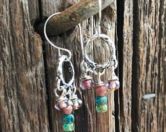 Earrings, dangle earrings, boho earrings, hippy earrings, sterling earrings, czech glass earrings