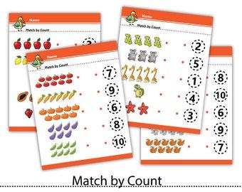 Match by Count Worksheet,Preschool Practice,Worksheet,Kindergarten,Learn Number, Printable Activity Sheet,Instant download #WS005