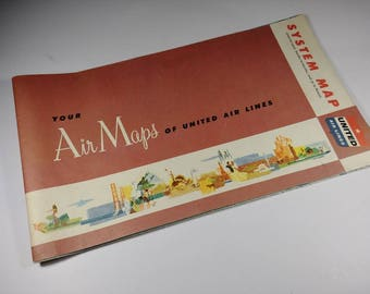 Vintage 1950's United Airlines Air Maps System Map