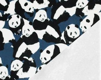 Panda, Blue - Alpine Fleece Stretch Sweat - 32cm cut length