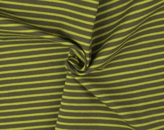 Green Stripe Cotton Lycra Jersey Knit Fabric