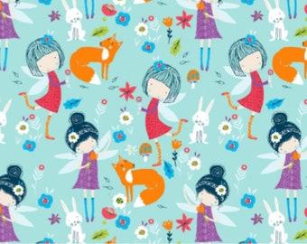 Fairy Meadow - Blue, Cotton Lycra Jersey Knit Fabric