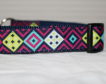 "Diamond Design Dog Collar - Choose Side Release Buckle or Martingale  (1"" Width) - Martingale Option Available"
