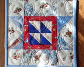 Blue Star Quilted Mug Rug, Mini Star Quilt, Snack Mat, Candle Mat, Secret Sister, Teacher, Hostess, or Co-Worker Gift, FREE SHIPPING!