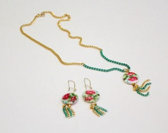 Green and Gold Chain Flower Necklace and Earring Set