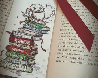 Harry potter hand illustrated bookmark