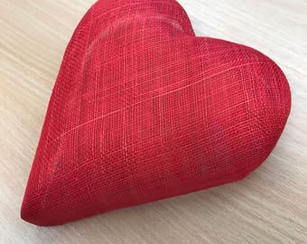 Heart shaped sinamay pillbox fascinator