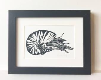 Nautilus Sea Shell Lino Print