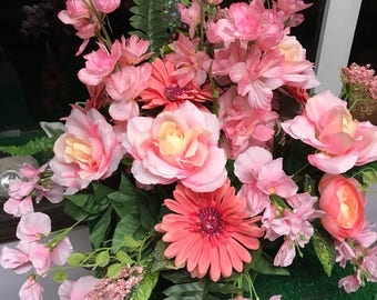 Silk hanging basket - silk flowers - home decor - flower basket