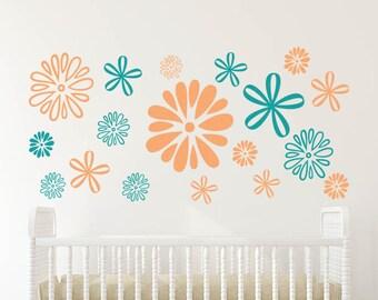 Flower Pattern Wall Decal   Dandelion Wall Decal   Floral Wall Decal    Dandelion Wall Sticker