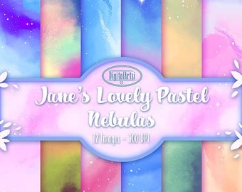 50% OFF Pastel Nebula Digital Paper Download - Space Download - Seamless Galaxy Space Patterns