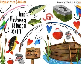 50% OFF Fishing Clipart - Fishing Items Download - Instant Download - Watercolor Fishing Supplies - Lures - Rods - Boat