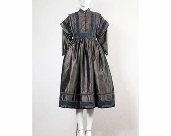 Rare vintage 1970s silk taffeta Kenzo paris folklore party dress with mandarin collar