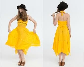 Yellow Halter Summer Dress / Crochet Waist / Size 8-10 Adjustable
