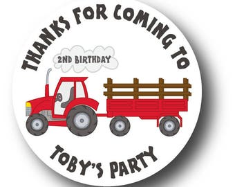 12 Tractor Thank You Birthday Stickers