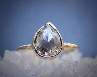 Pear Diamond Unique Engagement Ring, Rose Cut Grey Raw Diamond Ring, Rustic Diamond, Custom Made, 14k Yellow, Rose, or White Gold