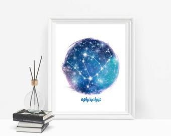 Ophiuchus Star Sign Printable Zodiac Signs, Constellation Print, Ophiucus Zodiac Art Print, Constellations Art