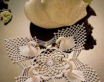 Vintage 1970s Swan Pineapple Doily Crochet Pattern, Wedding 3d Elegant Swans, Lace, Novelty, Hawaiian, Pin Up Girl, Kitsch, Retro Home Decor